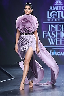 Lavender Embroidered Floral Gown With Drape & Cape by AMIT GT