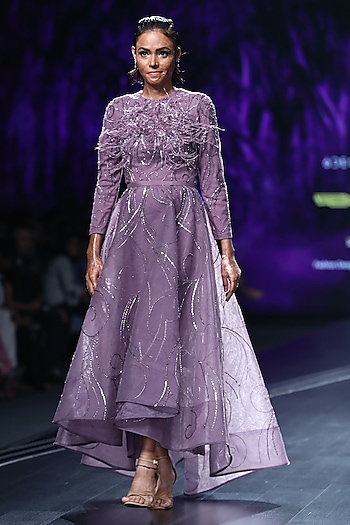 Lavender Embroidered High-Low Gown by AMIT GT