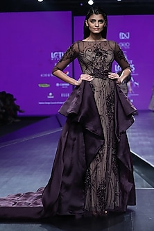 Bordeaux Embroidered Draped Trail Gown by AMIT GT