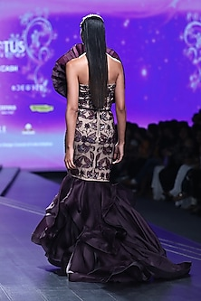 Bordeaux Embroidered Mermaid Gown by AMIT GT