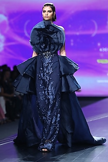 Midnight Blue Embroidered Drape Gown by AMIT GT
