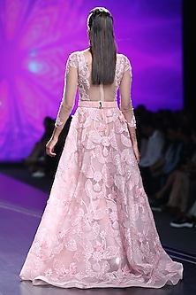 Pink Bead Embroidered Gown by AMIT GT
