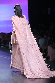 Light Pink Embroidered Cape Gown by AMIT GT