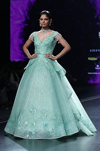 Sea Green Embroidered Draped Ball Gown by AMIT GT