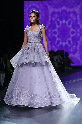 Mauve Embroidered Peplum Ball Gown by AMIT GT