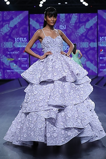 Mauve Embroidered Tiered Gown by AMIT GT