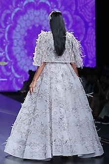 Lavender Embroidered Ball Gown With Jacket by AMIT GT