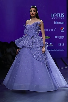 Blue Embroidered Tiered Ball Gown by AMIT GT