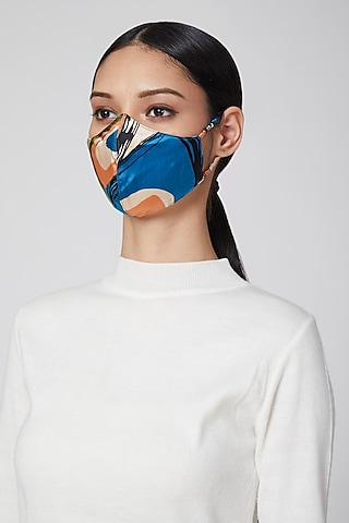 Cobalt Blue Printed Mask by Amit GT