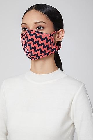 Fuchsia & Cobalt Blue Printed Mask by Amit GT