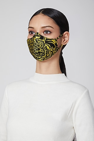 Black & Gold Animal Printed Mask by Amit GT