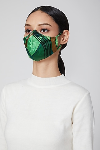 Emerald Green Printed Mask by Amit GT
