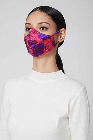 Pink Printed Satin Mask by Amit GT