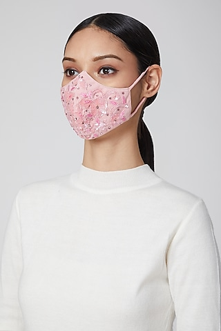 Blush Pink Embroidered Mask by Amit GT