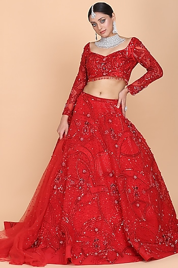 Red Embroidered Lehenga Set by Amit GT
