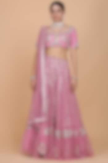 Sorbet Pink Embroidered Lehenga Set by Amit GT