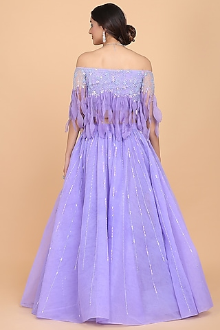 Lavender Embroidered Fringed Lehenga Set by Amit GT