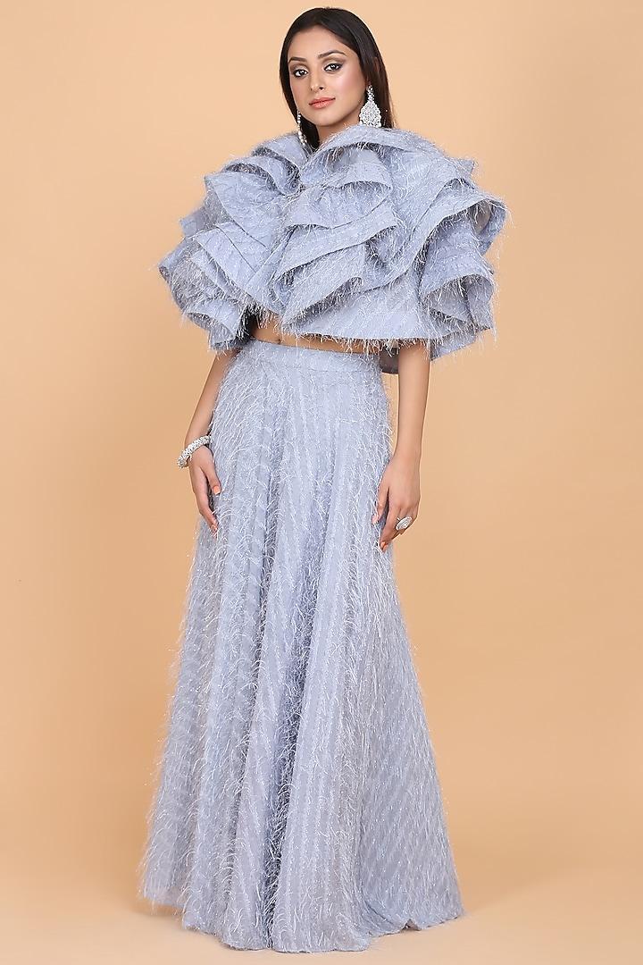 Grey Draped Skirt Set by Amit GT