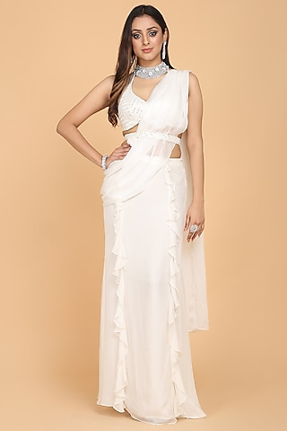 Off White Ruffled Saree Set by Amit GT