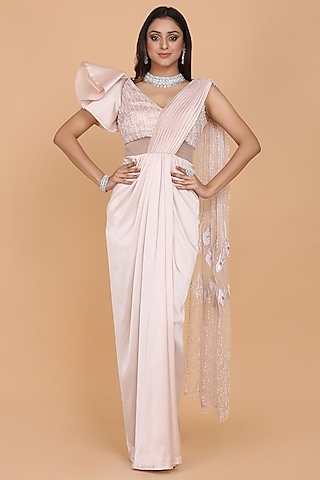 Blush Pink Embroidered Saree Gown Set by Amit GT