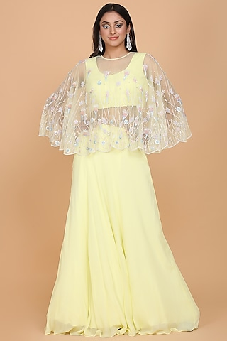 Yellow Embroidered Lehenga Set by Amit GT