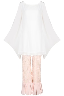 Ivory Kurta With Blush Pink Embroidered Sharara Pants by Amaira