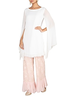 Ivory Kurta With Blush Pink Embroidered Sharara Pants by Amaira