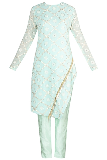 Turquoise Embroidered Kurta With Pants by Amaira