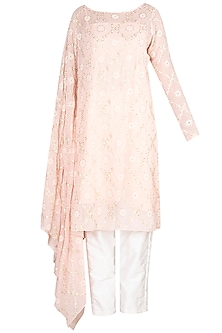 Blush Pink Embroidered Kurta With Pants by Amaira