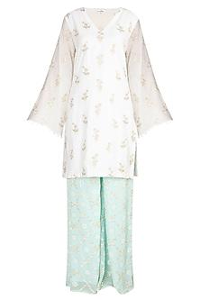 Ivory & Turquoise Embroidered Kurta Set by Amaira