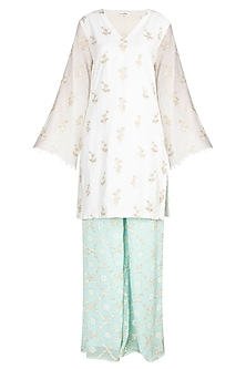 Ivory & Turquoise Embroidered Kurta Set by Amaira