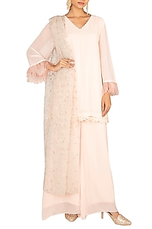 Blush Pink Embroidered Kurta Set by Amaira