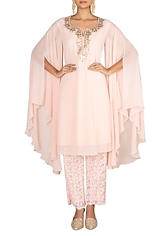 Blush Pink Kurta With Chikankari Pants by Amaira