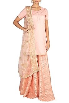 Peach Embroidered Sharara Set by Amaira