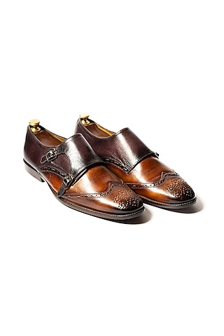 Tan & Burgundy Hand Painted Loafers by ARTIMEN
