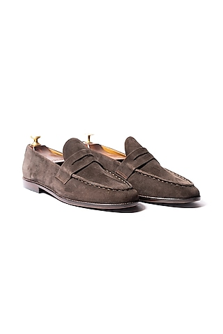 Brown Suede Leather Loafers by ARTIMEN