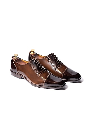 Burnt Brown Handcrafted Dual Tone Shoes by ARTIMEN