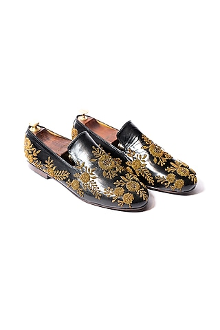 Black Hand Embroidered Loafers by ARTIMEN