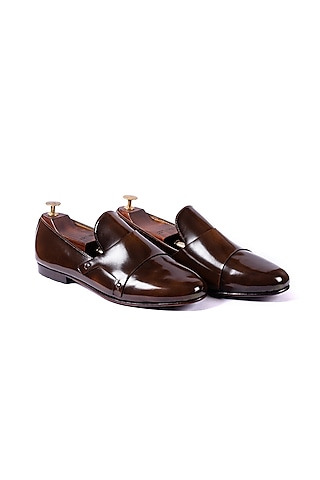 Burnt Brown Handcrafted Loafers by ARTIMEN