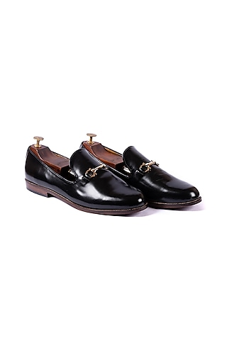 Black Loafers With Golden Buckle by ARTIMEN