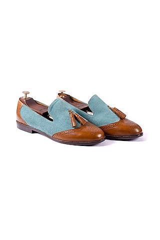 Turquoise & Tan Loafers With Tassels by ARTIMEN