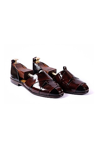Burnt Cherry & Black Cross Strapped Sandals by ARTIMEN
