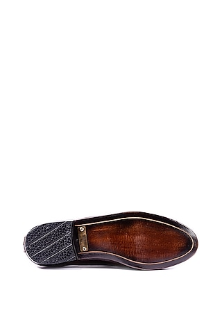 Brown Hand Painted Loafers by ARTIMEN