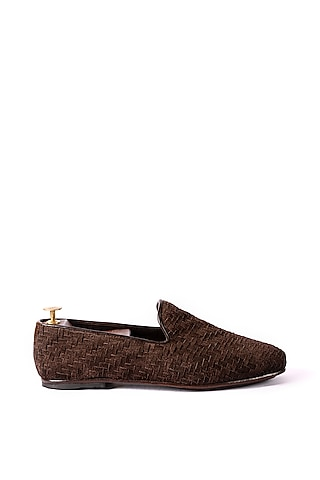 Brown Handwoven Loafers by ARTIMEN