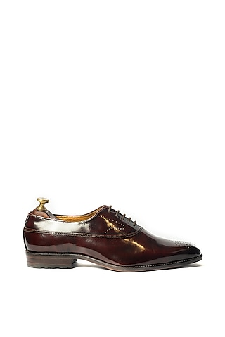 Burnt Cherry Leather Oxford Shoes by ARTIMEN