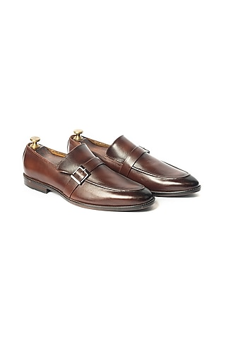 Burnt Brown Hand Sprayed Loafers by ARTIMEN