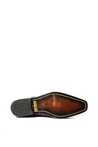 Brown Handcrafted Leather Shoes by ARTIMEN