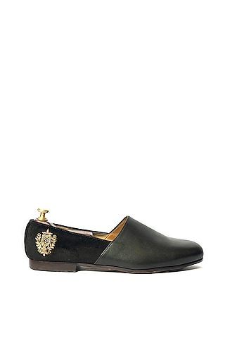 Black Motifs Embroidered Shoes by ARTIMEN