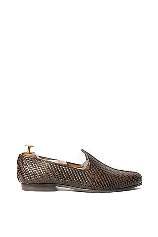 Brown Handwoven & Textured Loafers by ARTIMEN