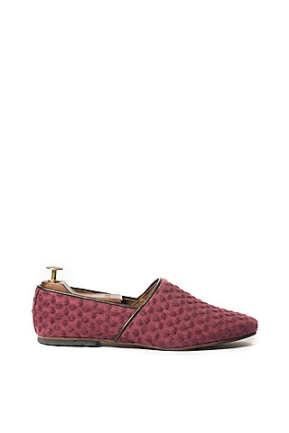 Maroon Leather Shoes by ARTIMEN